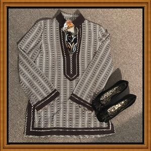 Tory Burch Tunic Size 8 Dk Brown and Off White